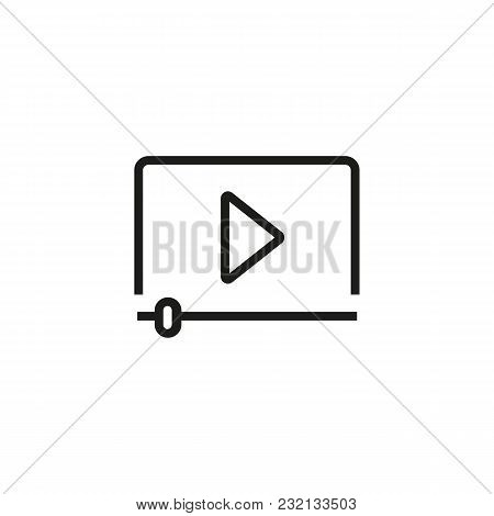 Video Player Interface Line Icon. Play Button, Negative, Filmstrip. Video Content Concept. Can Be Us