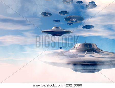 Ufo's In Evening Sky