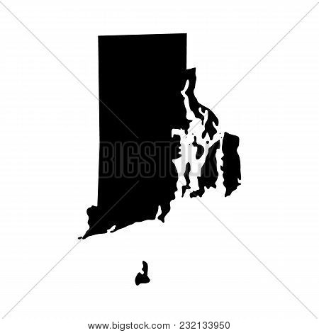 Map Of The U.s. State Of Rhode Island On A White Background