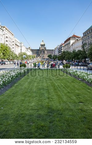 Prague - May 05: The Famous St Venceslao Square And Tourists That Walk On It On May 05, 2011 In Prag
