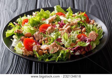 Mediterranean Salad With Tuna Fish, Borlotti Beans, Cherry Tomatoes, Lettuce Close-up. Horizontal
