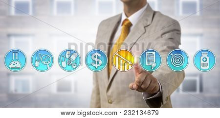 Unrecognizable Male Pharmaceutical Business Manager Is Lowering Drug Price Via Touch Screen Interfac