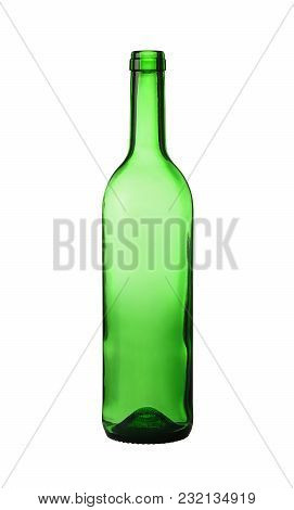 Close Up One Unlabeled Empty Green Glass Wine Bottle Isolated On White Background, Low Angle Side Vi