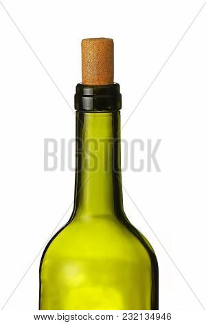 Close Up One Open Green Glass Bottle Of Wine With Cork Isolated On White Background, Low Angle Side