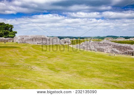 Ruined Old Sarum, the site of the earliest settlement of Salisbury, Wiltshire, South West England, UK