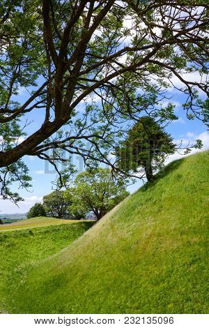 Norman central motte at ruined Old Sarum, the site of the earliest settlement of Salisbury, Wiltshire, South West England, UK