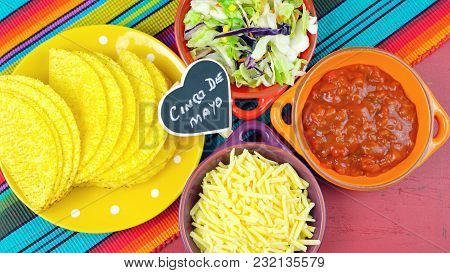 Cinco De Mayo Bright Colorful Party With Ingredients For Assembling Tacos On Festive Red Wood Table.