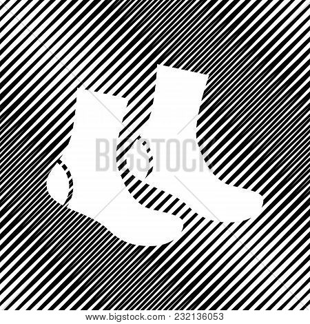 Socks Sign. Vector. Icon. Hole In Moire Background.