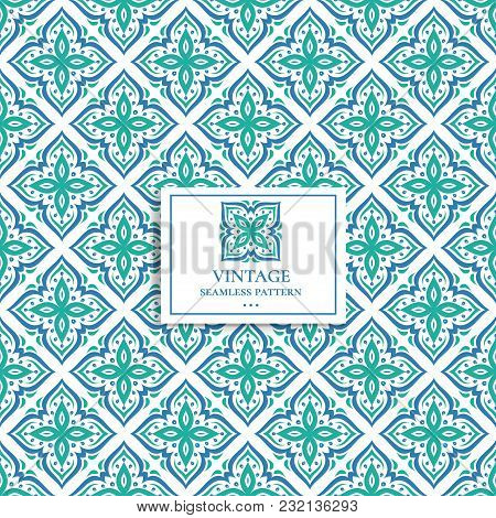 Blue And Green Ornamental Seamless Pattern. Vintage, Paisley Elements. Ornament. Traditional, Ethnic