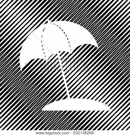 Umbrella And Sun Lounger Sign. Vector. Icon. Hole In Moire Background.