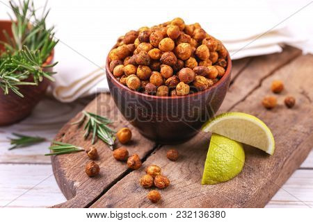 Indian Cuisine. Roasted Chickpeas With Lime And Rosemary