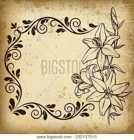 Vector Vintage Border Frame Engraving With Retro Ornament Pattern In Antique Baroque Style Decorativ