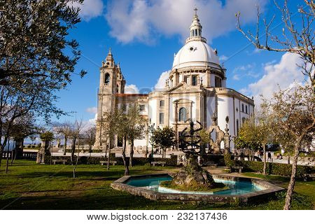 Braga, Portugal - March 18, 2018: Sanctuary Of Our Lady Of Sameiro (or Sanctuary Of Sameiro Or Immac