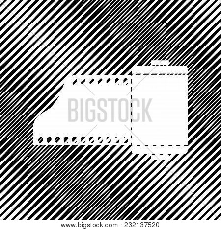 Old Photo Camera Casset Sign. Vector. Icon. Hole In Moire Background.
