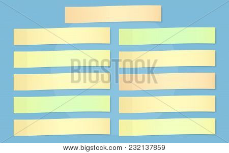 Set Of Colorful Horizontal Sticky Notes Paper For Text Stuck On Blue Background.