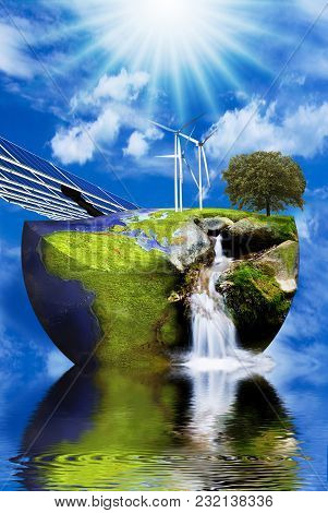 Wind Turbines And Solar Panels On The Image Of The Earth In A Context Of Clean Energy