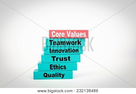Core Values. Business Concept With Colorful Wooden Blocks.