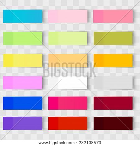 Set Of Office Paper Sheets Or Sticky Stickers With Shadow Isolated On A Transparent Background.vecto
