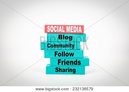 Social Media. Business Concept With Colorful Wooden Blocks.
