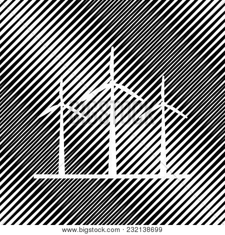Wind Turbines Sign. Vector. Icon. Hole In Moire Background.