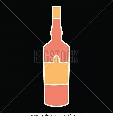 Wine Bottle Icon. Cartoon Wine Bottle Vector Icon For Web Design Isolated On Black Background