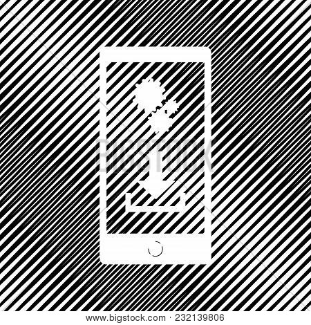 Phone Settings. Download And Install Apps. Vector. Icon. Hole In Moire Background.