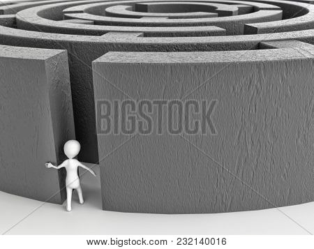 3D rendering of white stick man entering big gray concrete wall maze