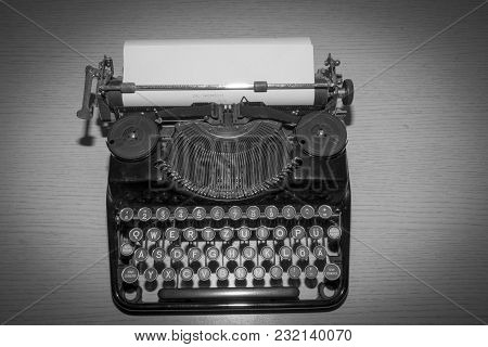 Old Vintage Mechanical Typewriter Black And White