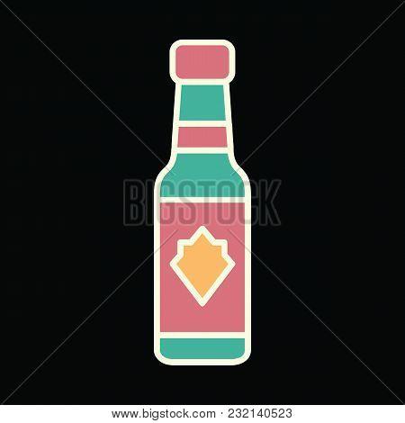 Vodka Bottle Icon. Cartoon Vodka Bottle Vector Icon For Web Design Isolated On Black Background