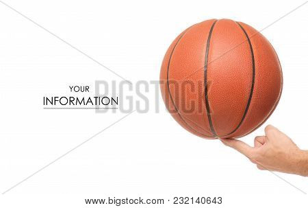 Basketball Ball In Hand Pattern On White Background Isolation