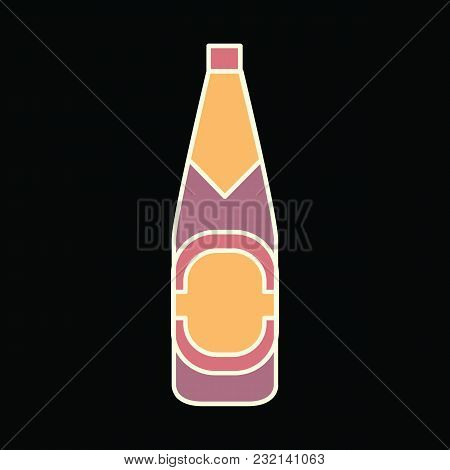 Beer Bottle Icon. Cartoon Beer Bottle Vector Icon For Web Design Isolated On Black Background