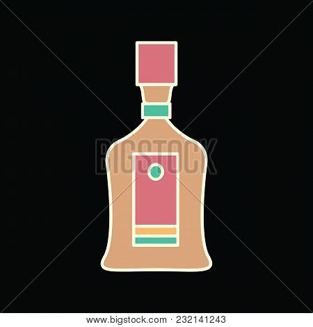 Cabernet Bottle Icon. Cartoon Cabernet Bottle Vector Icon For Web Design Isolated On Black Backgroun