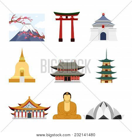 Vector Illustration Set Of Travel Asia With Asia Famous Buildings, , Volcano And Buddha Statue Icons