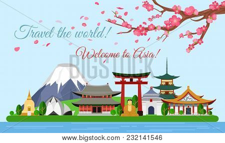 Vector Illustration Travel Concept Of Asia Traveling, Poster With Famous Asian Buildings, Attraction
