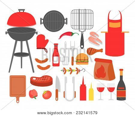 Vector Illustration Set Of Barbecue, Grilled Food Steak, Sausage, Chicken, Seafood And Vegetables, A