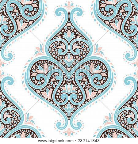 Beautiful Blue,pink, Brown And White Floral Seamless Pattern. Vintage. Vector. Traditional, Ethnic,