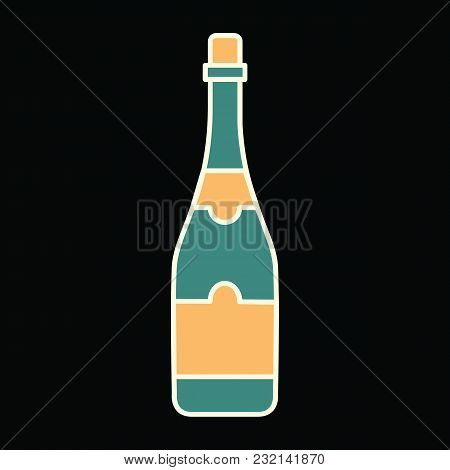 Champagne Icon. Cartoon Champagne Vector Icon For Web Design Isolated On Black Background