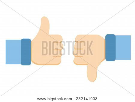 Vector Illustration Of Like And Dislike Icons. Thumbs Up And Thumbs Down Symbols On White Background