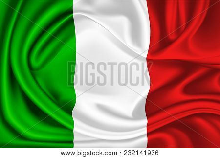 Realistic Silk Mexican Or Italian Flag. Waving Mexico Italy State Symbol. National Country 3d Drape