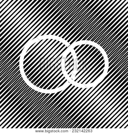 Wedding Rings Sign. Vector. Icon. Hole In Moire Background.
