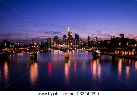 Frankfurt Am Main City Skyline During Blue Hour
