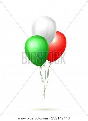 Realistic Celebration Balloon. Cinco De Mayo Mexican Holiday, Green White Red Colored Air Ballon Gro