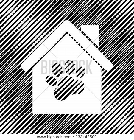 Pet Shop, Store Building Sign Illustration. Vector. Icon. Hole In Moire Background.