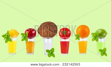 Fresh Fruit Juices On Pastel Green Background