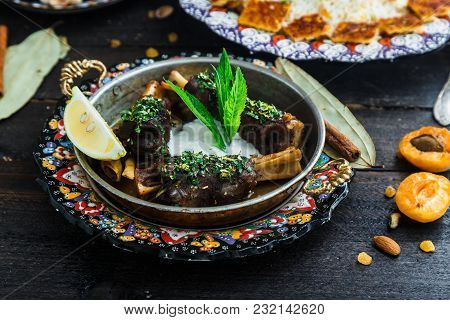 Lamb Shanks With Yoghurt And Mint In A Pan.