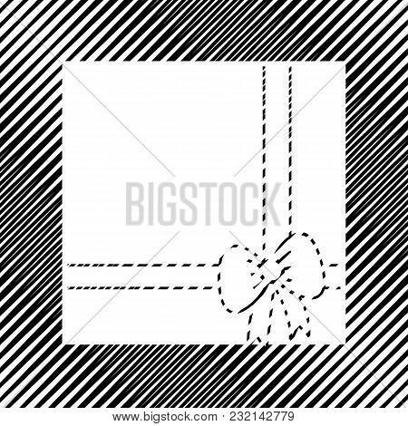 Gift Box Sign Illustration. Vector. Icon. Hole In Moire Background.
