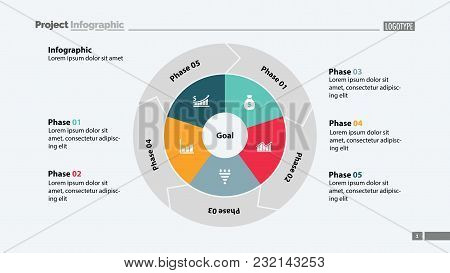 Five Phases Process Chart Slide Template. Business Data. Goal, Circle, Design. Creative Concept For