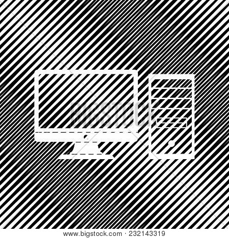 Computer Sign Illustration. Vector. Icon. Hole In Moire Background.