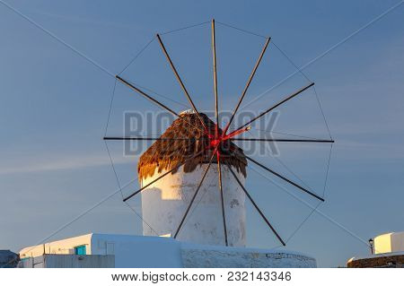 White Windmill On A Hill Above The City. Mykonos. Greece. Chora.