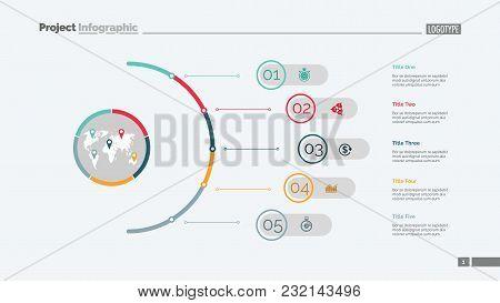 Five Steps Process Chart Slide Template. Business Data. Infochart, Plan, Design. Creative Concept Fo